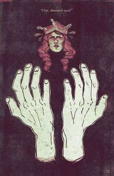 Hands are a significant symbol of the entire play, for they were involved in all the wrongdoing throughout as well as they are stained with blood and guilt. Here, this picture illustrates the frustration of Lady Macbeth when the spots of blood and guilt on her hands will not come out.
