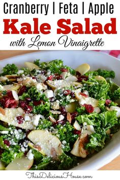 Kale Cranberry Feta Salad with apples and almonds is the perfect kale salad recipe. Topped with a tangy lemon vinaigrette that is fresh and easy to make. Kale Salad Recipes, Vegetarian Recipes, Healthy Recipes, Recipe For Kale Salad, Recipes With Feta, Cranberry Salad Recipes, Lettuce Recipes, Make Ahead Salads, Salads