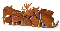 Wooden animal cutouts with colored outline