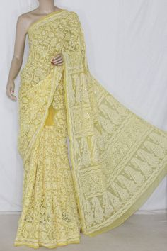 Golden Yellow Allover Hand Embroidered & Mukaish Work Lucknowi Chikankari Saree (With Blouse - Georgette) 14363