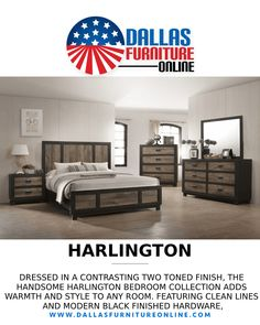 Offering a unique mix of modern and farmhouse style with its clean lines, rustic two-tone finish, & black hardware, Elements' Harlington collection is fantastic option for any bedroom! Included in this set, only $795, is a Queen bed with distressed wood panel headboard, 1 nightstand, a mirror, and a dresser. Get details by clicking the pic above or calling/texting 972-698-0805! #bedrooms #BedroomSets #beds #dressers #nightstands #mirrors #furniture #decorating #DFW #Dallas #FortWorth