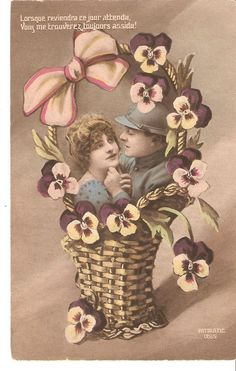 French RPPC Young French Military Couple,in Basket of Pansies