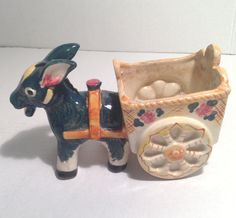 Vintage donkey with cart flower pot burrow by EverythingVintageBC Flower Pots, Flowers, The Donkey, Deep Conditioner, Wheelbarrow, Cart, Planters, Toys, Green