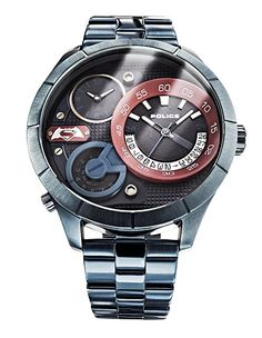 Policía Limited Edition Superman unisex reloj de cuarzo con Negro esfera analógica pantalla y pulsera de acero inoxidable azul 14638X SBL/03M-PREFERIDO-