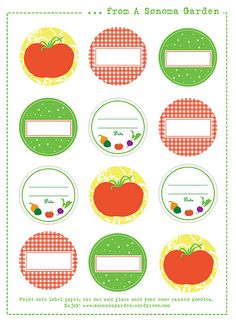 Add a Finishing Touch to Your Canning Jars with These Free Labels: A Sonoma Garden's Canning Labels Canning Jar Labels, Canning Recipes, Pot Mason, Mason Jars, Printable Labels, Free Printables, Home Canning, Canning 101, Label Templates