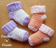 Easy baby socks crochet pattern, worked from the cuff downwards. Keep babies feet warm and cosy, they take very little yarn to make and can be ..........