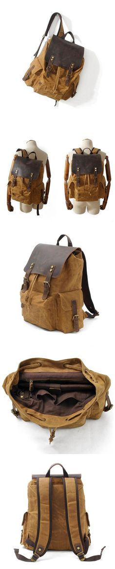 Canvas Leather Backpack Waterproof Canvas Travel Backpack Full Grain Leather With Canvas Laptop Backpack MC9151 Laptop Backpack, Travel Backpack, Leather Backpack, Waxed Canvas, Canvas Leather, Latest Beard Styles, Canvas Backpacks, Mens Fashion Blog, Shoulder Strap