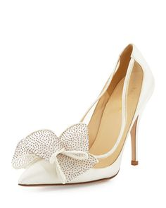 "kate spade new york satin pump. Mesh collar with piped trim. 4"" covered heel. Pointed toe; single sole. Glitter mesh bow detail. Leather footbed and sole. ""lovely"" is made in Italy."