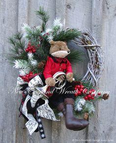 christmas wreath french horn wreath holiday wreath musical christmas wreath fox hunt wreath whimsical christmas wreath