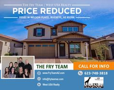 """PRICE REDUCED on this """"Gorgeous Barely A Year Old Home In Verrado!""""   Minutes from the parks, community pools and everything you need within a few minutes walk.   Reach out and find out how this could be your home today. CALL 623-748-3818 or visit us at www.FryTeamAZ.com   #HomeForSale #PriceReduced #VerradoHome #NelsonPlace #Buckeye #AZ #USA #WestRealtyUSA #RealEstate #TheFryTeam"""