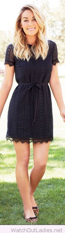 Wonderful black lace dress and leo flats