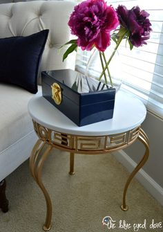 Accent Table Makeover with Pale Gold Metallic Paint from Modern Masters | Project by The Blue Eyed Dove