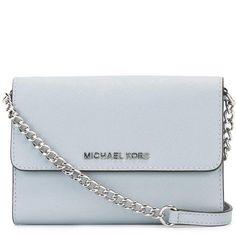 Michael Michael Kors mini 'Jet Set Travel' foldover chain clutch ($159) ❤ liked on Polyvore featuring bags, handbags, clutches, blue, leather handbags, mini handbags, mini pochette, blue leather purse and mini purse