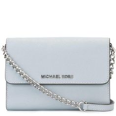 Michael Michael Kors mini 'Jet Set Travel' foldover chain clutch ($159) ❤ liked on Polyvore featuring bags, handbags, clutches, blue, leather handbags, mini handbags, mini pochette, blue leather purse and mini purse