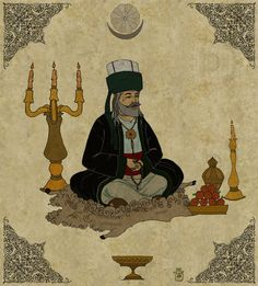pir sultan abdal Sufi, Anthropology, Mystic, Pray, Miniatures, Tattoo, Traditional, Painting, Snow