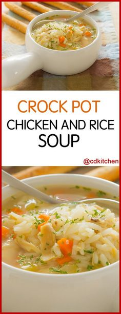 Slow Cooker Chicken And Rice Soup - Recipe is made with black pepper, salt, poultry seasoning, skinless boneless chicken, chicken broth, celery, carrots, rice, onions, mixed vegetables, chicken bouillon granules   CDKitchen.com