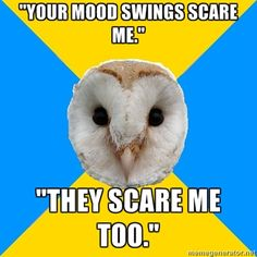 """""""Your mood swings scare me.""""/""""They scare me too."""" #BipolarOwl"""