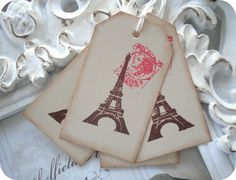 Vintage Inspired Eiffel Tower Tags  Large  by LittlePaperFarmhouse, $4.95