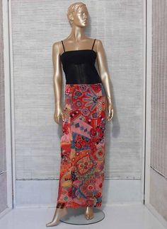 Kenzo maxi skirt asian floral print long skirt boho by IuSshop