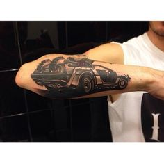 Whoa this is heavy! ⏰#delorean#tattoo#arm#backtothefuture #marty#doc#lovethis#lookswiked#bttftattoo#ineedabttftattoo
