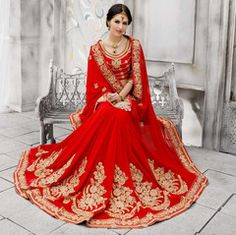 Red Color Georgette Designer Wedding Functions Sarees : Swaragini Collection  YF-40394