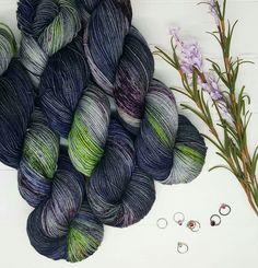 """Orbital""; Hand dyed yarn, indie dye, sock yarn. Lambstrings.etsy.com Yarn Inspiration, Sock Yarn, Hand Dyed Yarn, Knitting Socks, Knit Crochet, Wool, Crocheting, Craft Supplies, Embroidery"