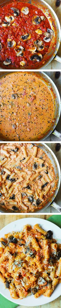 Penne Pasta in Creamy Vodka Tomato Sauce with Mushrooms - sauce made from scratch! Easy and such an Italian dinner!