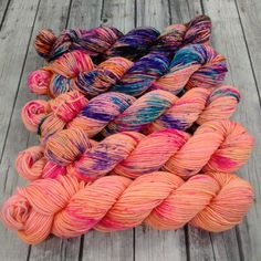 Mini Skein Set Hand Dyed 8 ply Squishy Sock  by LogHouseCottage