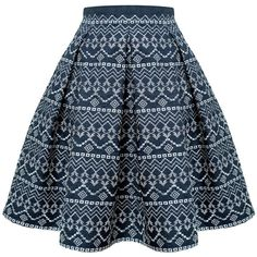 Embroidered flared skirt RUMOUR LONDON (9,385 PHP) ❤ liked on Polyvore featuring skirts, flare skirts, calf length skirts, geometric skirt, mid calf skirts and blue circle skirt
