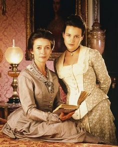 Carla Gugino as Nan St. George and Cherie Lunghi as Laura Testvalley, 1870s costumes from BBC's Edith Wharton's The Buccaneers (1995) #CostumeDesign: Rosalind Ebbutt