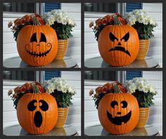 Vinyl Decal Jack-o-Lantern Faces by KWintersDesigns on Etsy Holidays Halloween, Halloween Crafts, Halloween Party, Halloween Decorations, Halloween Jack, Halloween Felt, Halloween Templates, Disney Halloween, Halloween House