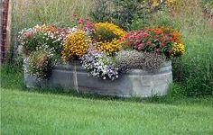 Life Below Zero: Easy Kids Wash Tub Garden - teach Your Children to Go Green Trough Planters, Garden Planters, Galvanized Trough, Rustic Gardens, Outdoor Gardens, Container Plants, Container Gardening, Pot Jardin, Pot Plante