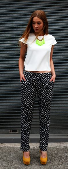 BOSS PANTS It's not spring without a pair of printed pants. Very cool ikat graphic print. Add a neon blazer and you're away.