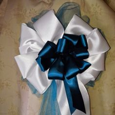 Wedding+Bows+Any+Color+Pew+Bows,+Party+Bows,+Package+Bows,+Present+Bows,+Bridal+Shower,+Baby+Shower,+Church+Bows,+Teal+And+White+Ribbon+Bows+by+AsPrettyDoes+on+Etsy