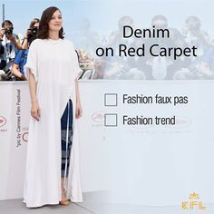 #KFLStylePolice  French Actress Marion Cotillard pairs white maxi dress with ruffled jeans at Cannes Film Festival 2017. Fashion faux pas or Fashion Trend? What do you think? #cannes #filmfestival  Pic credit:Google.