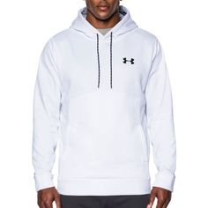 Under Armour Men's Armour Fleece Icon Solid Pullover Hoodie, Size: Large, White