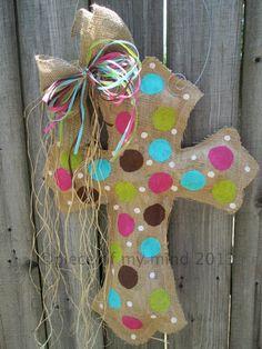 Burlap Cross Burlap Door Hanger with Polka dots by nursejeanneg, $28.00