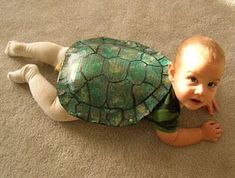 Homemade Turtle Costume - such a precious idea for crawlers!