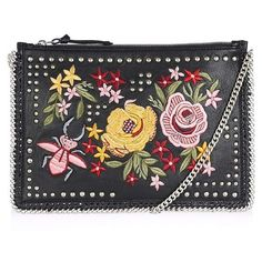 Women's Topshop Oto Embroidered Crossbody (€57) ❤ liked on Polyvore featuring bags, handbags, shoulder bags, black multi, studded purse, vintage shoulder bag, vintage silver purse, studded handbags and vintage purses