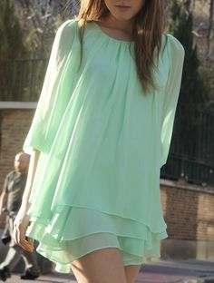 Mint Dress with Ruffles. Cute & Classy.