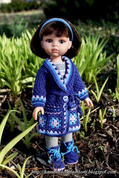 "KasatkaDollsFashions: Вязаное крючком пальто и ботиночки ""Гиацинт"" для кукол Паола Рейна"