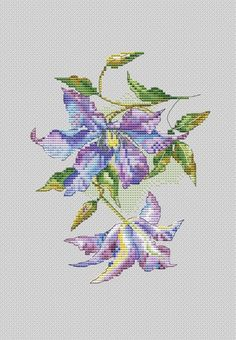 Clematis Cross Stitch Pattern – Famous Last Words Needlepoint Stitches, Hand Embroidery Stitches, Cross Stitch Embroidery, Embroidery Patterns, Cross Stitch Art, Cross Stitch Flowers, Cross Stitching, Cross Stitch Patterns, Seed Bead Patterns