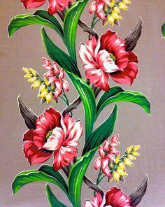 Breathtaking 40s Floral Barkcloth Fabric// Hollywood by KimberlyZ