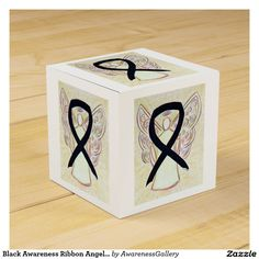 Black Awareness Ribbon Angel Party Favor Box