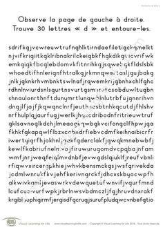 Dans les fiches de travail « Recherche de lettre » l'élève doit trouver la même lettre que celle indiquée dans les instructions.