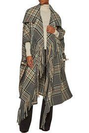 ChloéFringed plaid wool-blend coat