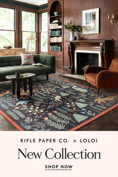 New pillows and rugs are here! Step into our world of lush forest scenes, signature florals, and extra-special embellishments. Created with our friends at Loloi Rifle Paper Co, Cozy House, Home Living Room, Table Furniture, B & B, Beautiful Homes, Family Room, Sweet Home, New Homes