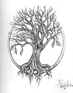 weeping willow tree black and white tattoo