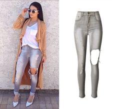 Ripped Distressed Jeans Women Mustat Repäiset Farkut 3d0f491b86