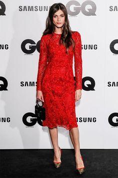 Elisa Sednaoui red lace dress